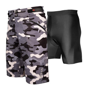 The Shredder Camo - Men's MTB Off Road Cycling Shorts Bundle with Padded Undershorts - Urban Cycling Apparel