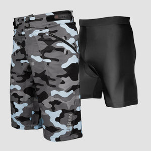 THE SHREDDER YOUTH CAMO - YOUTH MTB OFF ROAD CYCLING SHORTS BUNDLE WITH PADDED UNDERSHORTS - Urban Cycling Apparel