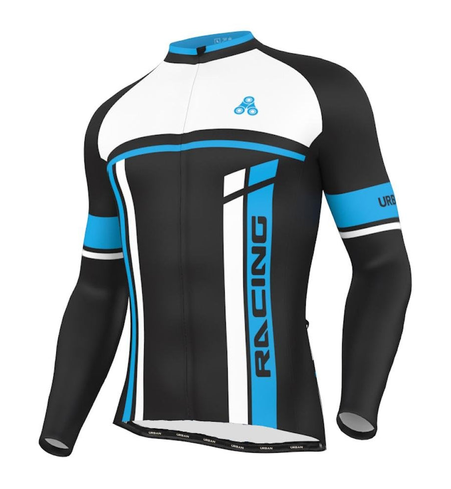 Urban Cycling Blue THERMAL WINTER fleece Jersey & Bib Tights - Urban Cycling Apparel