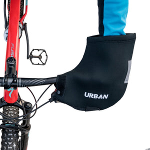 Urban Cycling Handlebar Mitts for Mountain / Commuter Bike, Flat Handlebar Pogie Winter Thermal MTB Mittens, Black - Urban Cycling Apparel