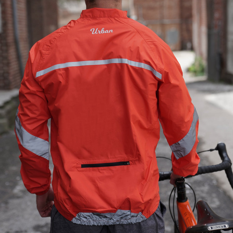 Urban Windproof & Waterproof Commuters Men's Cycling Jacket - Orange - Urban Cycling Apparel