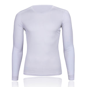 Men's Mesh Base Layer - White Long Sleeve Cycling Undershirt