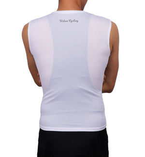 Men's Mesh Base Layer - White Sleeveless Cycling Undershirt