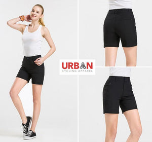 Women's Commuter Urban Casual Cycling Bike Shorts with Padded Underliner - Two Shorts in One - Urban Cycling Apparel