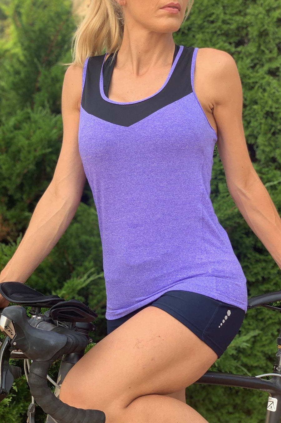 Women's Cycling/Running Racerback Tank Top with Pockets - Urban Cycling Apparel