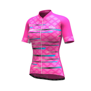 Women's Pro Series Pink Cycling Short Sleeve Jersey, Bib Shorts, or Kit Bundle - Urban Cycling Apparel