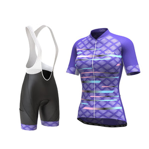 Women's Pro Series Purple Cycling Kit - Short Sleeve Jersey + Bib Shorts - Urban Cycling Apparel