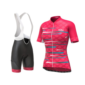 Women's Pro Series Red Cycling Kit - Short Sleeve Jersey + Bib Shorts - Urban Cycling Apparel