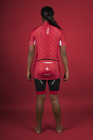 Women's Pro Series Red Cycling Short Sleeve Jersey, Bib Shorts, or Kit Bundle - Urban Cycling Apparel