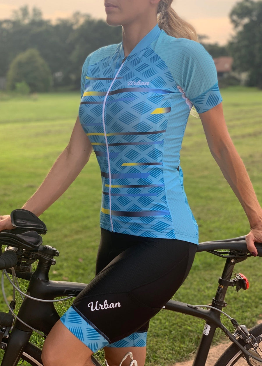 Women's Pro Series Teal Cycling Short Sleeve Jersey, Bib Shorts, or Kit Bundle - Urban Cycling Apparel
