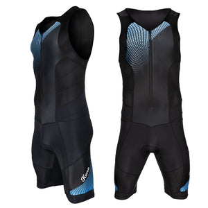 Youth Triathlon Race Suit - Speedsuit Skinsuit Trisuit Sleeveless - One-Piece Vest and Short Combo That Half zips with a Rear Pocket for Storage - Urban Cycling Apparel