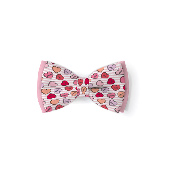 Conversation Hearts Pink - Double Layered Bow Tie