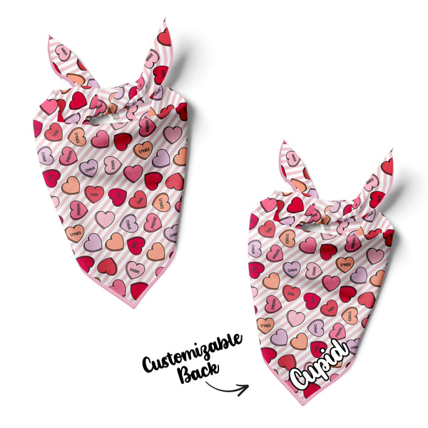 Conversation Hearts Pink - Double Sided Dog Bandana