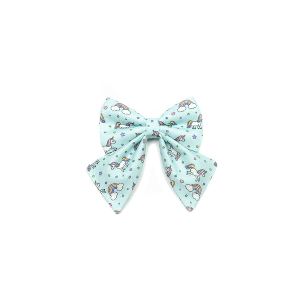blue unicorns and rainbows sailor bow