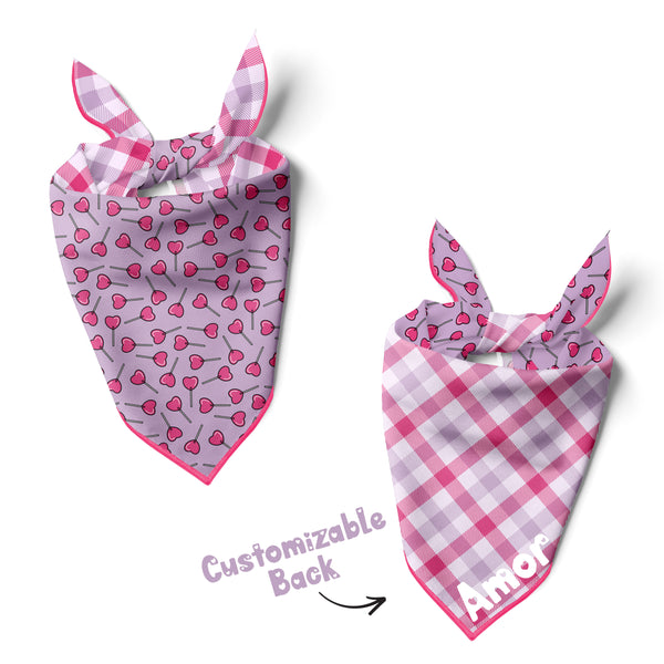 Heart Lollypops - Double Sided Dog Bandana