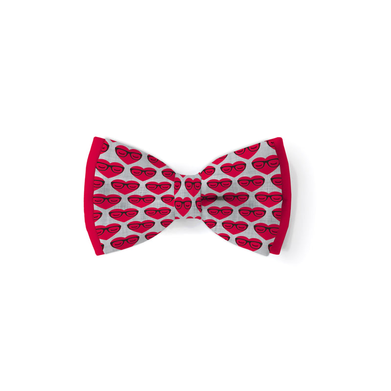 Hearts with Glasses - Double Layered Bow Tie