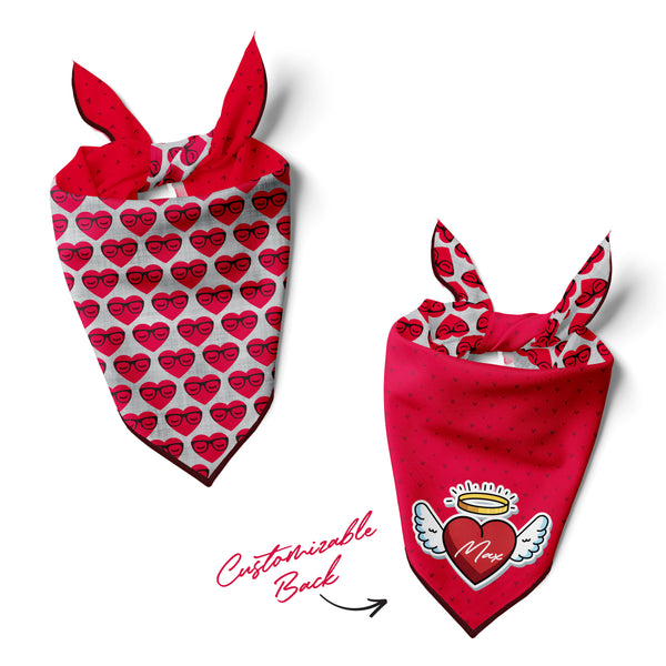 Hearts with Glasses - Double Sided Dog Bandana