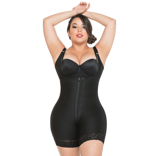 Faja-Salome-0216-High-Back-Thin-Straps-Body-Shaper-compression-Butt-Lifter-Shorts-Black