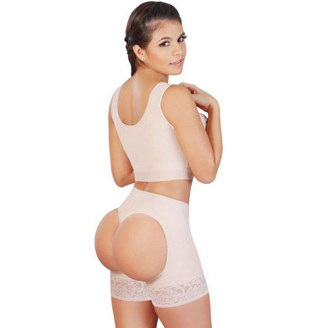 Faja-Salome-0319-Lifting-Shorts-with-External-holes-Buttlifting-Short-Beige