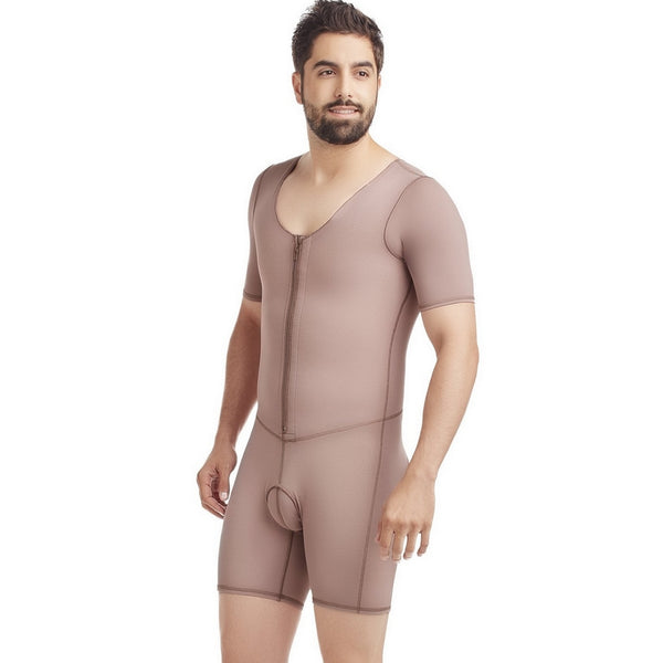 Delie By Fajas Diseños DPrada Faja Colombiana 11018 Men Post-Surgical Posture Improvement With Zipper Cafe´