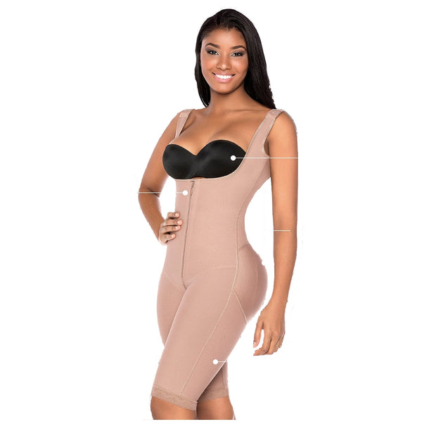 Faja-Colombiana-Melibelt-3011-Full Body-Shaper-post-surgical-thick-straps-Coffe