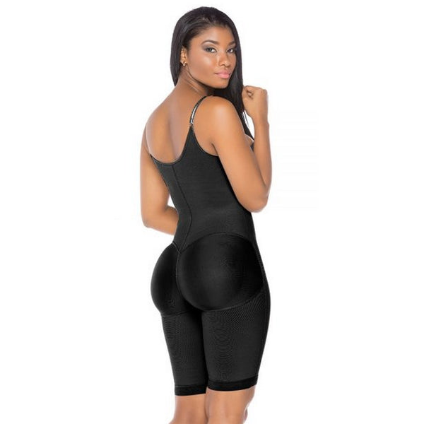 Fajas-Colombianas-Melibelt-3013-Double-abdominal-reinforcement-Knee-length-sash-Helps-recovery-and-obtain-better-results-after-surgery-Adjustable-straps-Natural-butt-lift-system-Semi-invisible-Black