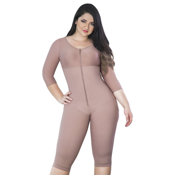 Faja-Colombiana-Melibelt-3015-Full-Body-Shaper-Post-Surgical-with-sleeves-and-Bra-Coffe