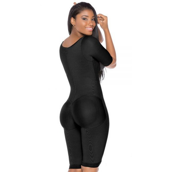 Fajas-Colombiana-Melibelt-3022-postpartum-Smart-compression-fabric-optimal-body-shaping Double-abdominal-reinforcement-Long-girdle-to-the-knee-Natural-Butt-Lift-System-Black