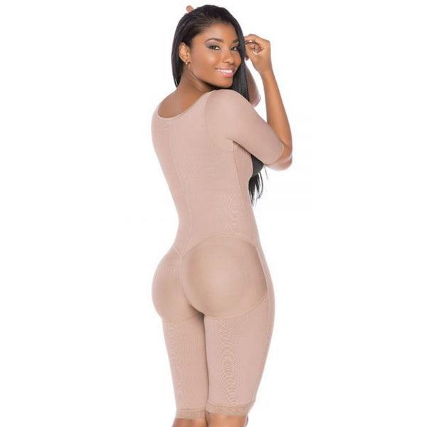 Fajas-Colombiana-Melibelt-3022-postpartum-Smart-compression-fabric-optimal-body-shaping Double-abdominal-reinforcement-Long-girdle-to-the-knee-Natural-Butt-Lift-System-Coffe