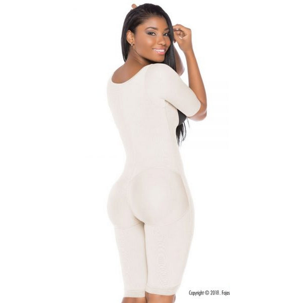 Fajas-Colombiana-Melibelt-3022-postpartum-Smart-compression-fabric-optimal-body-shaping Double-abdominal-reinforcement-Long-girdle-to-the-knee-Natural-Butt-Lift-System-white