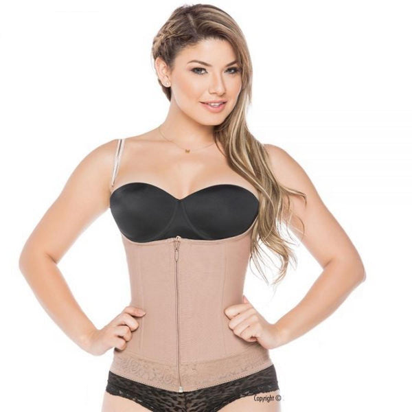 Faja-Colombiana-Melibelt-5021-High-Compression-Vest-Thin-Straps-with-double-abdominal-reinforstment-Coffe