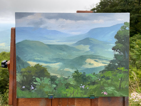 plein air painting on Skyline Drive, Front Royal, Virginia