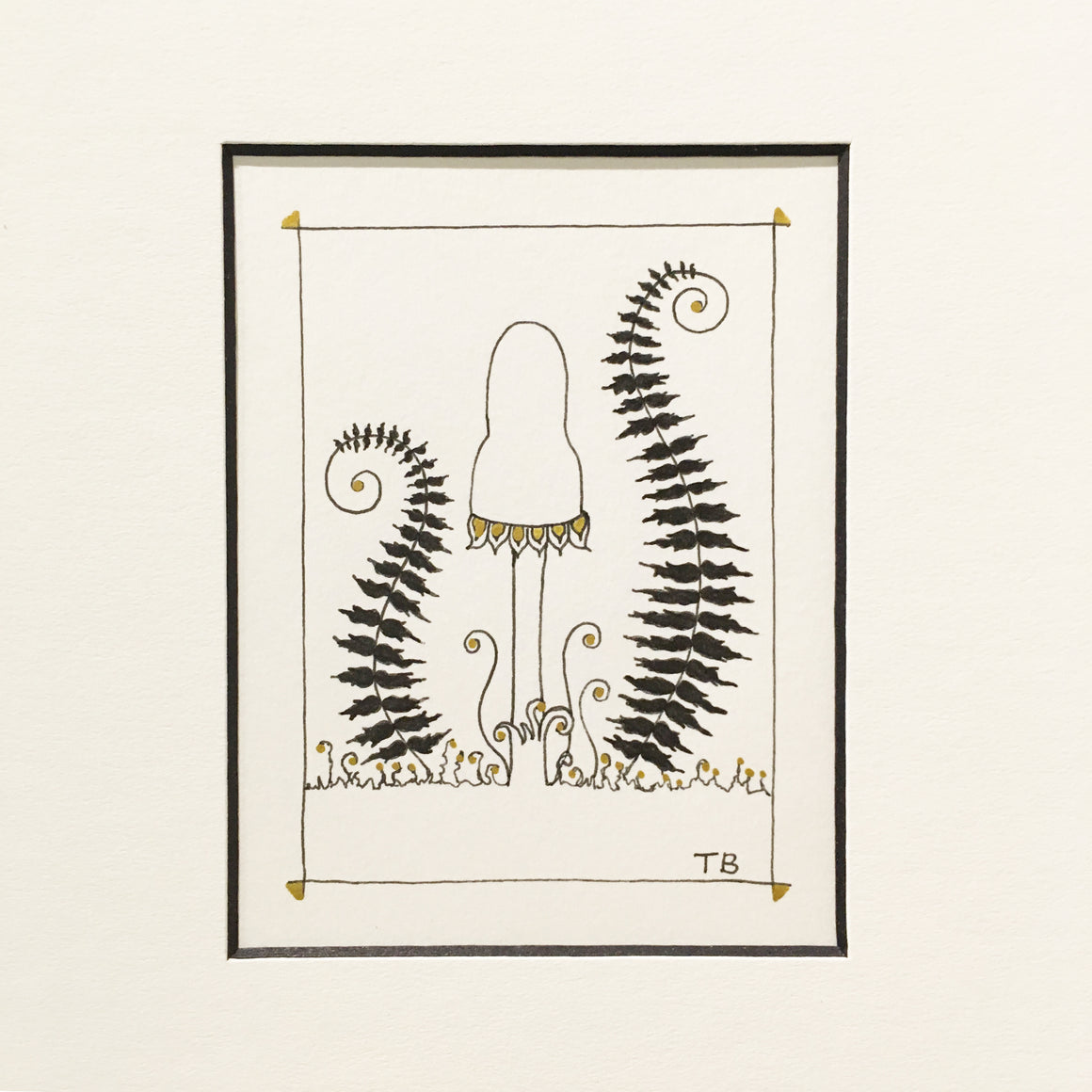 Pen and ink drawing with black and gold ink. mushroom and two ferns on each side reminiscent of a Greek Lyre instrument.