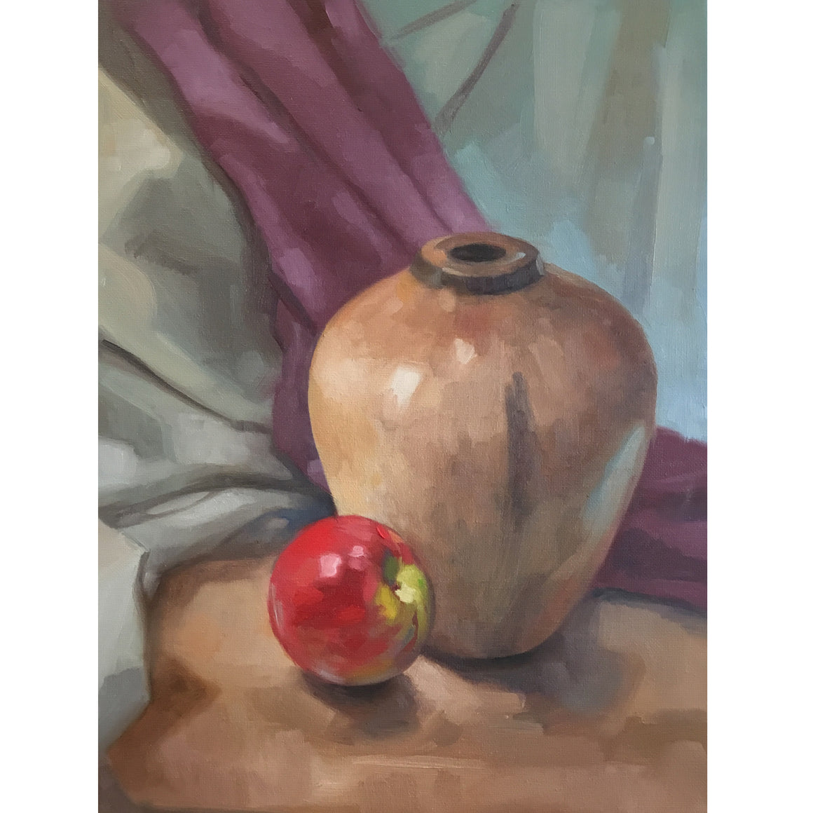 Wood Form with Apple