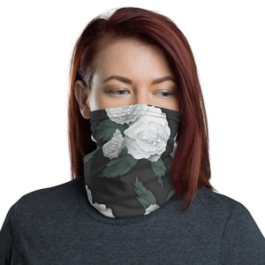 Dark Gray and White Floral Neck Gaiter