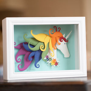 Custom Paper Sculpture Rainbow Unicorn - choose your colors!