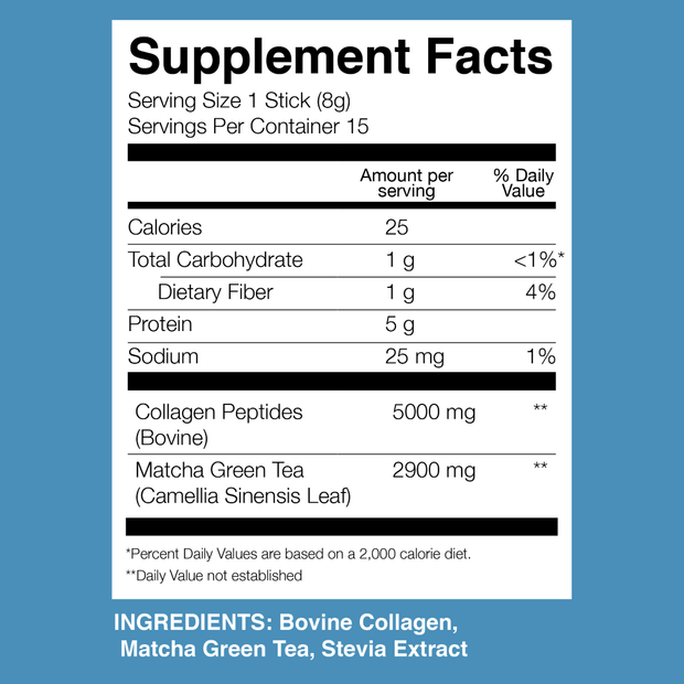 Matcha Collagen Packets Nutrition