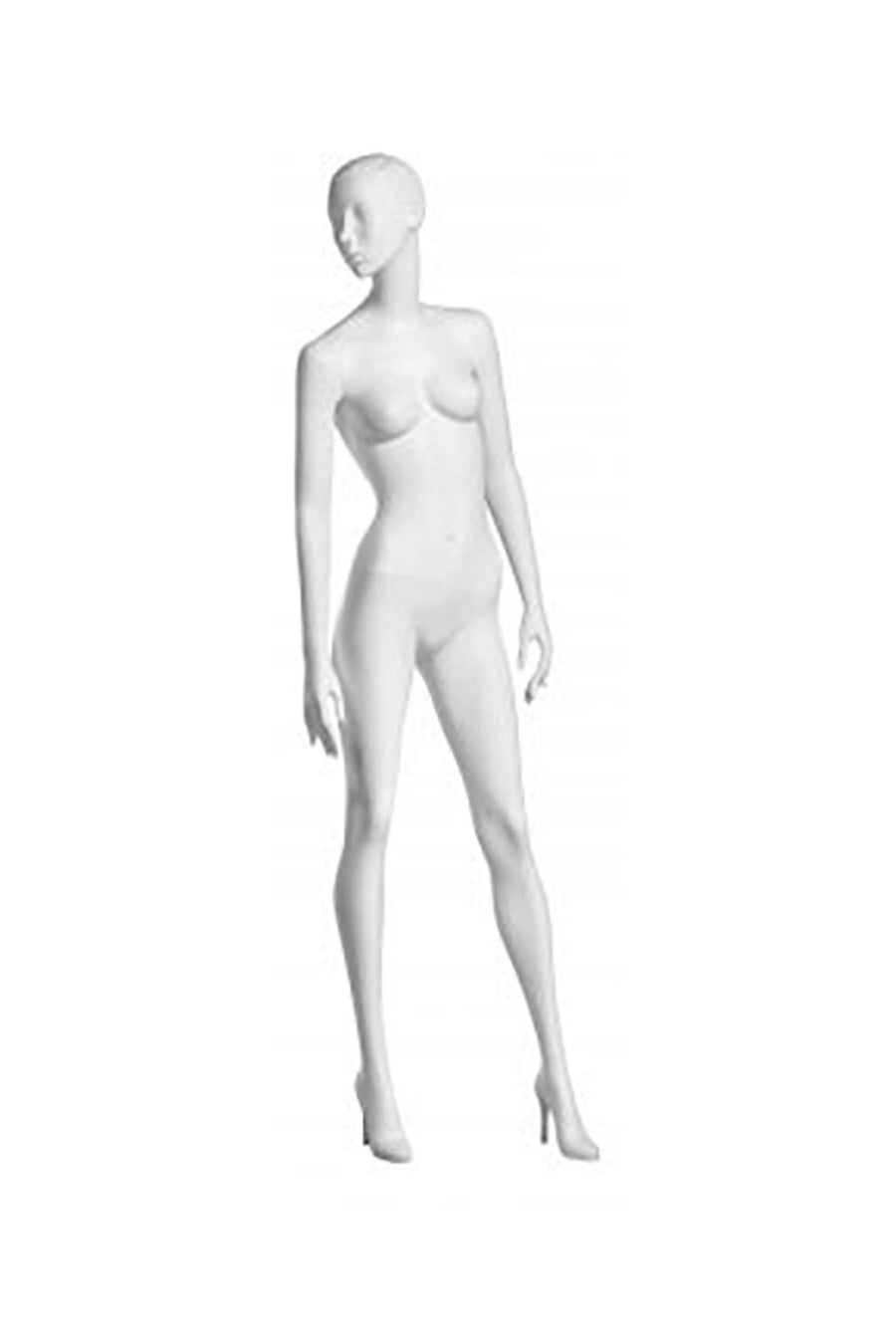jet black female mannequin with arms at sides, head looking right, and left leg stepping forward