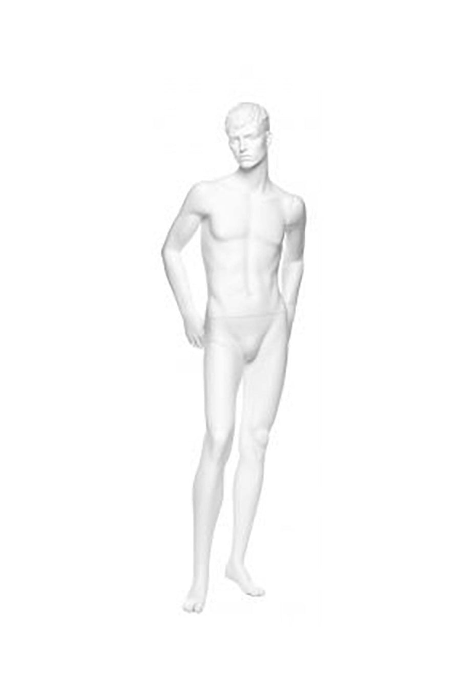 pure white male mannequin with hands on hips