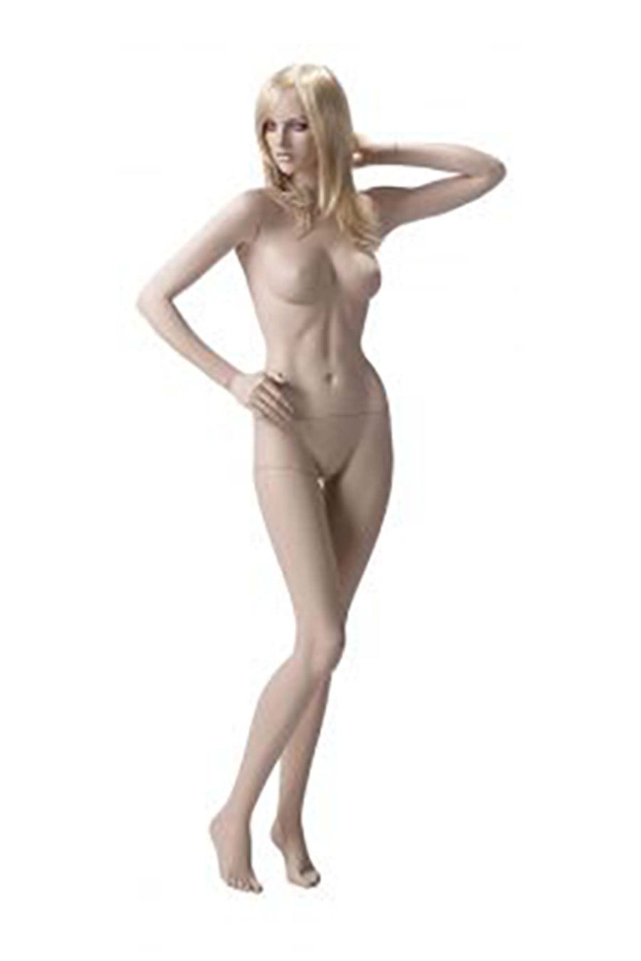 light skin tone female mannequin with left hand behind head and right hand on hip