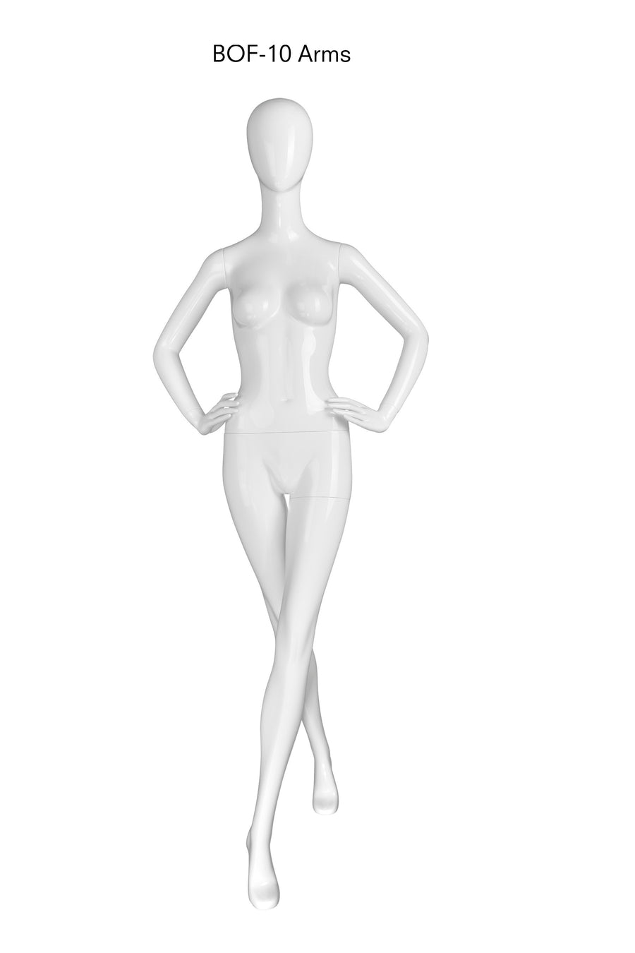 pure white female mannequin with blank face, left leg forward and arms at sides