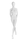 genesis pure white boutique female mannequin with blank face and hands behind back and left leg in front of right leg