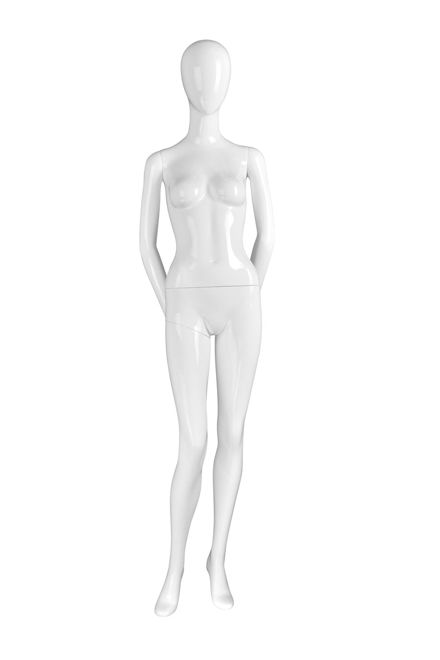 pure white female mannequin with blank face, arms behind back, and right knee slightly bent