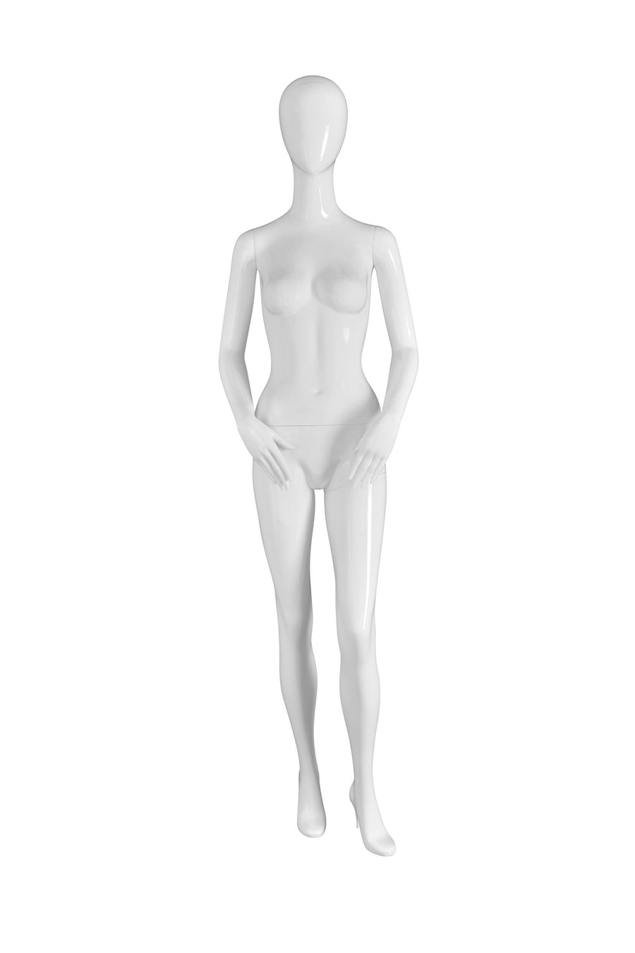 pure white female mannequin with hands resting on hips and blank face