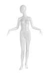 genesis boutique pure white female mannequin with head turned right and arms bent at elbows