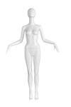 pure white female mannequin with arms bent and pointing outwards