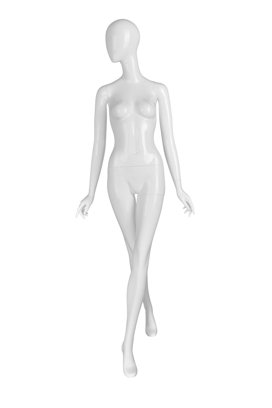 pure white female mannequin with smooth face, arms at sides with hands pointed outward, and left leg crossed in front of right leg