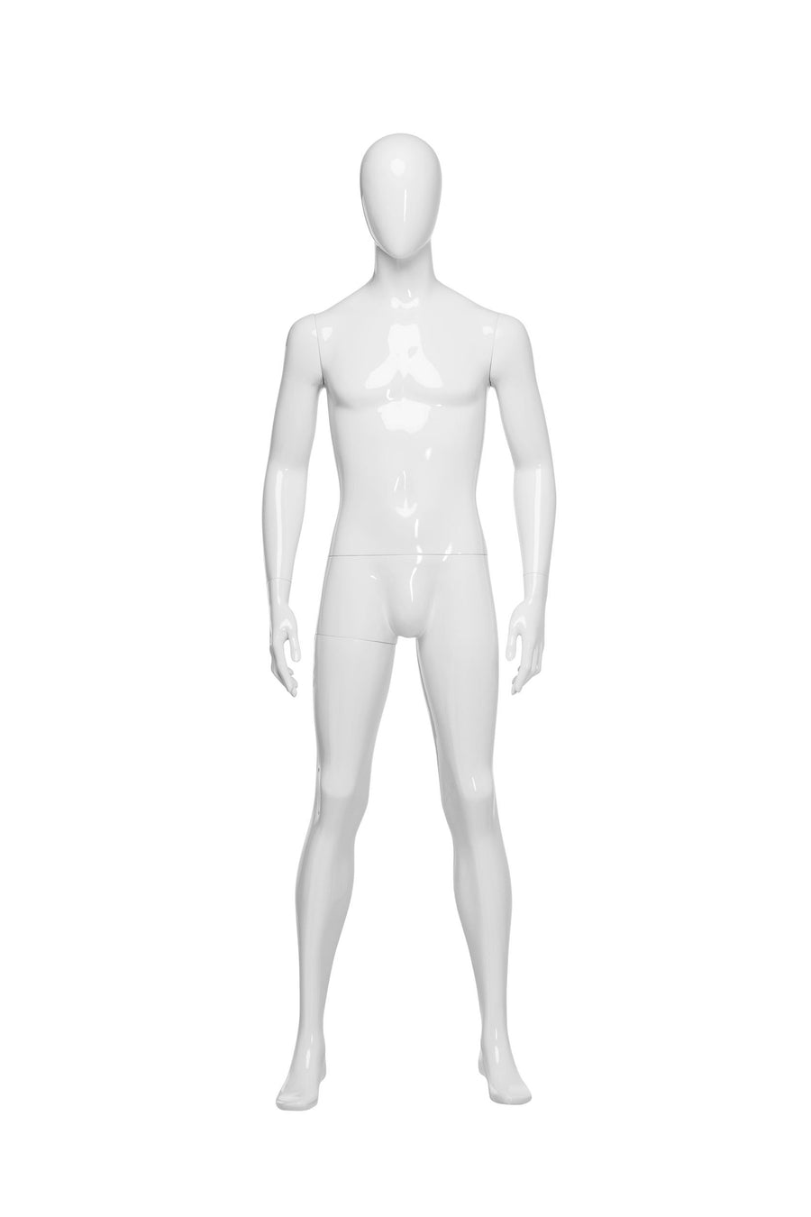genesis pure white boutique male mannequin with blank face and arms at sides and legs parted