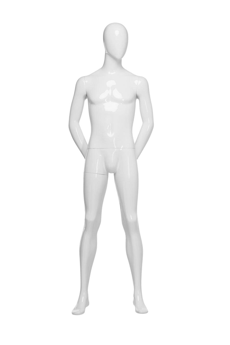 genesis boutique pure white male mannequin with blank face and arms behind back