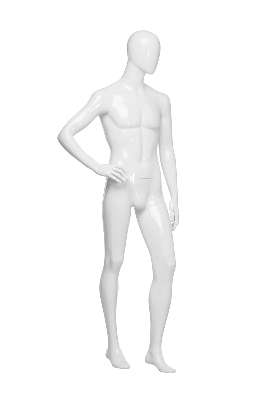 pure white male mannequin with right hand on hip